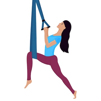 Giovane donna che fa esercizio con l'illustrazione di vettore dell'amaca. yoga antigravità.
