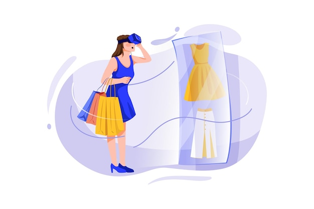 Giovane donna che fa acquisti online attraverso la tecnologia virtuale