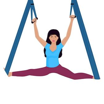 Giovane donna che fa le spaccature con l'illustrazione di vettore dell'amaca. giornata nazionale dello yoga.