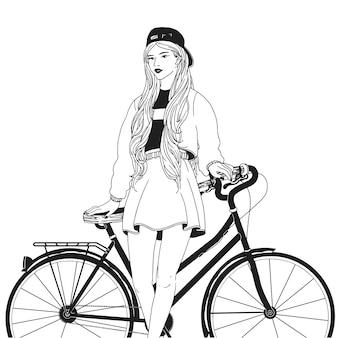 Giovane donna vestita con abiti alla moda alla moda che si appoggia la schiena sulla bici. ragazza alla moda con la bicicletta disegnata con le linee di contorno su fondo bianco. abito in stile street. illustrazione vettoriale monocromatica.