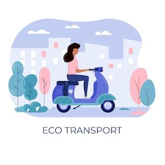 Scooter giovane donna in eco città, trasporto nel parco pubblico. trasporto personale elettrico, scooter elettrico verde, giroscooter. veicolo ecologico, concetto di vita in città