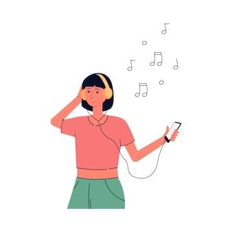Personaggio dei cartoni animati sveglio della giovane donna o ragazza che gode della musica, illustrazione piana di vettore isolata sulla superficie bianca