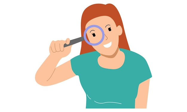 Giovane donna o ragazza con in mano una lente d'ingrandimento