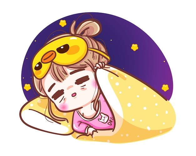 La giovane donna va a letto e riposa nell'esaurimento isolato con il bel concetto di sonno.