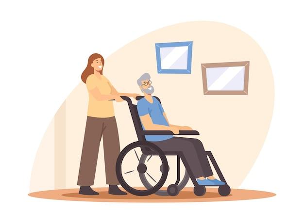 Aiuto della giovane donna all'uomo disabile anziano a casa o alla casa di cura. assistente sociale assistenza agli anziani malati guida su sedia a rotelle