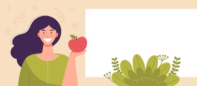 Mela della tenuta della giovane donna a disposizione. cibo dietetico, stile di vita sano, cibo vegetariano, dieta di cibi crudi. spuntino per studenti. modello, spazio per il testo, banner per il sito web. illustrazione di vettore del fumetto piatto.