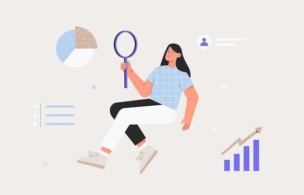 Giovane donna che tiene una lente d'ingrandimento e studia indicatori economici, grafico, infografica. illustrazione vettoriale di stile piatto.