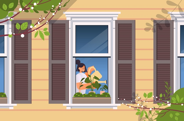 Giovane donna con annaffiatoio e versando piante concetto di giardinaggio domestico ragazza che si prende cura di piante d'appartamento in casa finestra ritratto illustrazione orizzontale