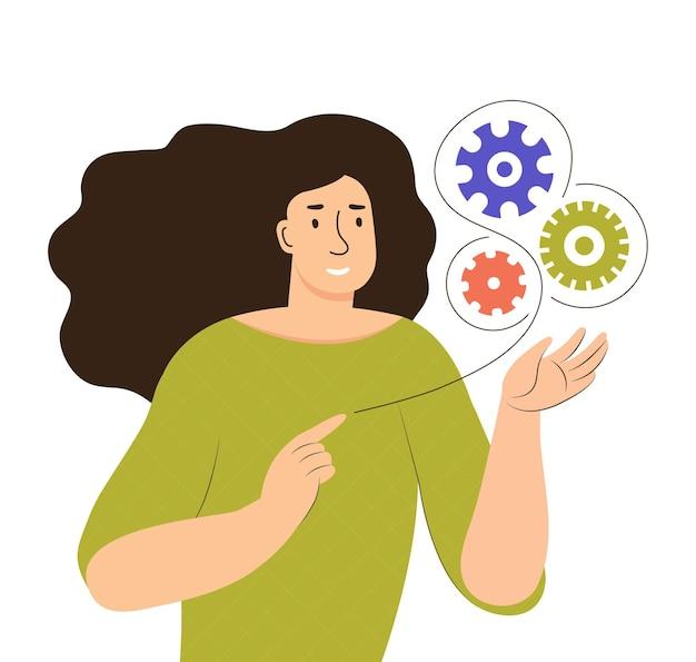 Una giovane donna tiene in mano gli ingranaggi di lavoro. ricerca di idee e soluzioni, processi aziendali in esecuzione, startup, studio, movimento del lavoro, organizzazione del lavoro. illustrazione piana di vettore di colore