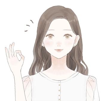 Giovane donna che fa segno di ok sta facendo un segno di ok con una mano