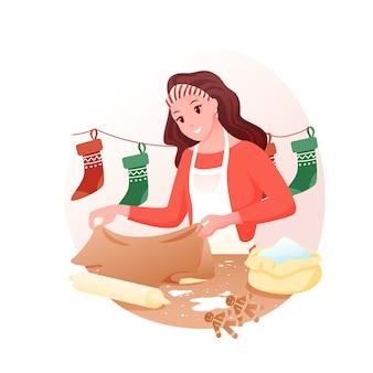 La giovane donna sta preparando biscotti allo zenzero fatti a mano, dolci natalizi, vacanze invernali a casa.