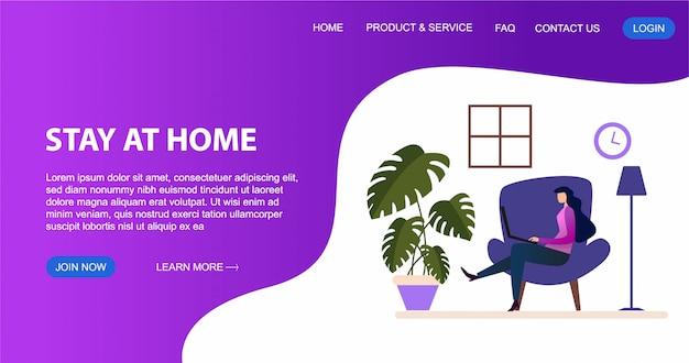 La giovane donna sta sedendosi con il computer portatile sul sofà a casa. lavorando su un computer. concetto di design piatto di lavorare da casa per il modello di pagina di destinazione e sito web