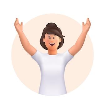 Giovane donna jane che celebra il raggiungimento degli obiettivi, la vittoria. concetto di vittoria e successo. vinci, mani alzate, gesto di mani in alto. illustrazione del carattere della gente di vettore 3d.