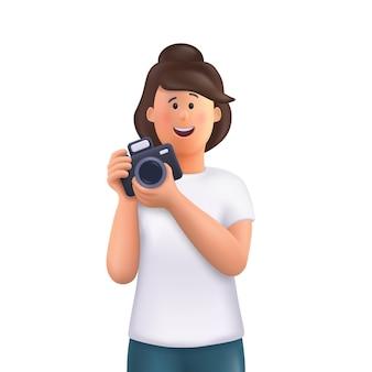 Giovane donna jane che tiene la macchina fotografica, scatta foto e sorride. fotografo professionista, concetto di cameraman. illustrazione del carattere della gente di vettore 3d.