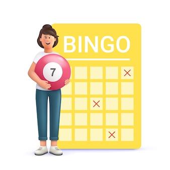 Giovane donna jane che gioca a bingo 3d vettore persone carattere illustrazione
