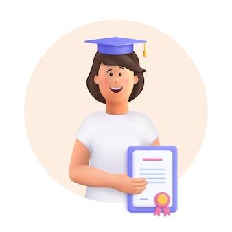 Giovane donna jane studente in cappello di laurea in possesso di diploma 3d vettore persone carattere illustrazione