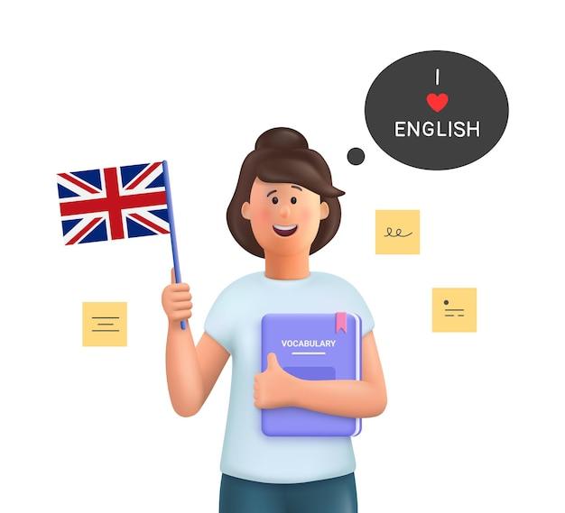 Giovane donna jane che studia inglese impara l'inglese concetto 3d persone carattere illustrazione