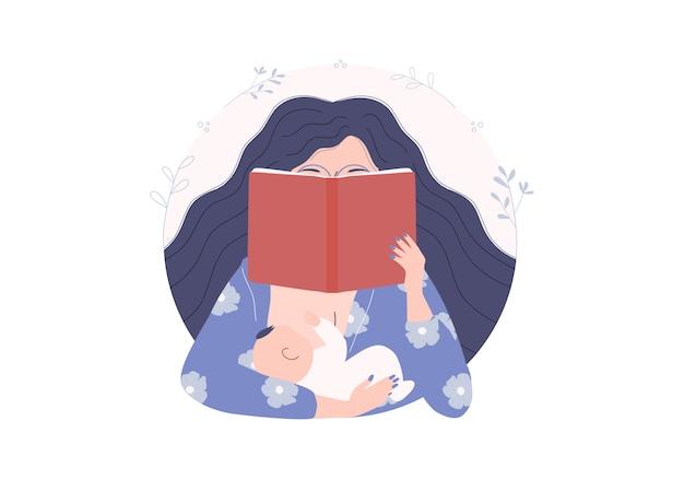 La giovane donna impara come genitorialità positiva. madre che legge romanzo mentre tiene, allatta e allatta lo stile del fumetto dell'illustrazione del bambino. giornata mondiale del libro e giornata internazionale dell'alfabetizzazione