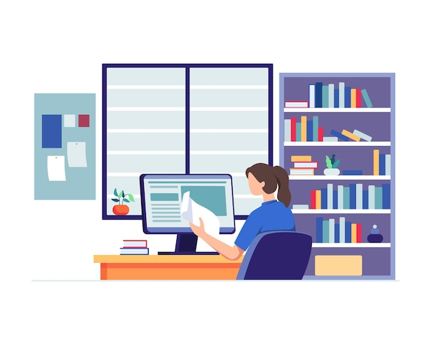 Giovane donna che guarda il computer e studia. compiti della scuola, concetto di formazione in linea. in stile piatto