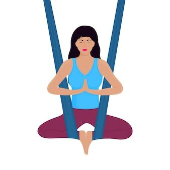 La giovane donna medita nella posizione del loto in un'illustrazione di vettore dell'amaca. vola yoga.