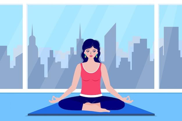 La giovane donna medita Vettore Premium