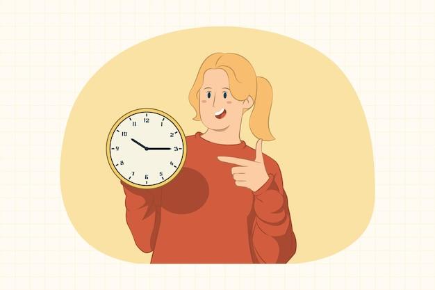 Giovane donna che indica il dito indice sul concetto di orologio