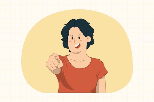 Giovane donna che indica il dito indice in avanti
