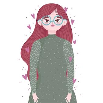 Ritratto di giovane donna con occhiali e cuori amore fumetto illustrazione