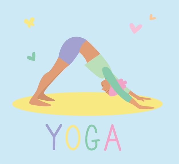 La giovane donna pratica lo yoga. pratica fisica e spirituale. illustrazione vettoriale in stile cartone animato piatto. stile di vita sportivo sano delle donne, allenamento di pilates.