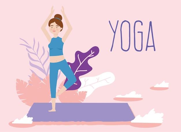 La giovane donna pratica la postura dell'albero di yoga