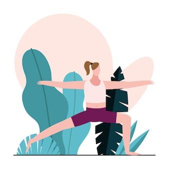 Giovane donna a praticare ginnastica carattere illustrazione design