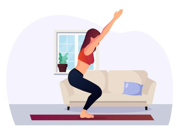 Posa della sedia di yoga della giovane donna che pratica a casa
