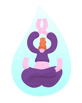Yoga di pratica della giovane donna dentro una goccia di caduta di acqua