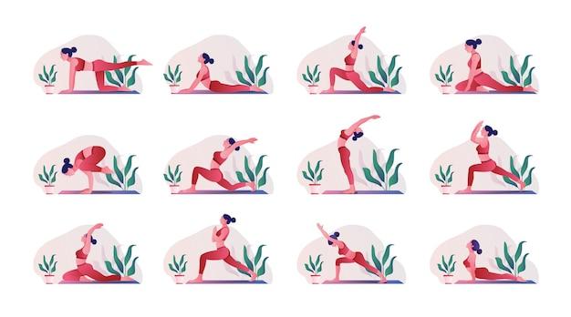 Giovane donna che pratica posa di yoga allenamento donna aerobica ed esercizi
