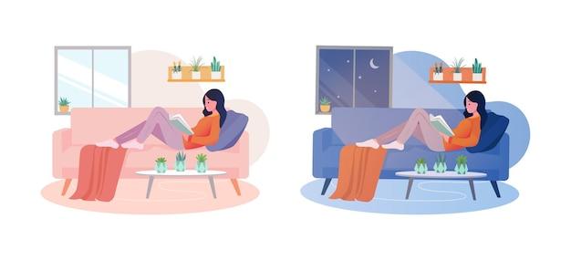 Giovane donna che legge un libro con posa rilassante
