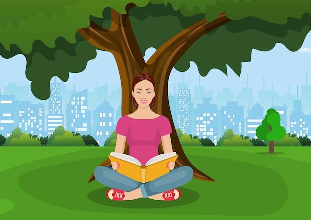 Giovane donna che legge libri