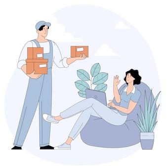 Giovane donna che riceve il pacco della scatola di cartone dal corriere del servizio di consegna seduto a casa.