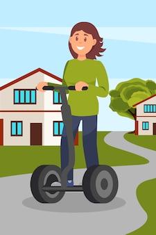 Giovane donna che guida segway sullo stile di vita sano e attivo della via della città, illustrazione amichevole amichevole del veicolo del trasporto di eco