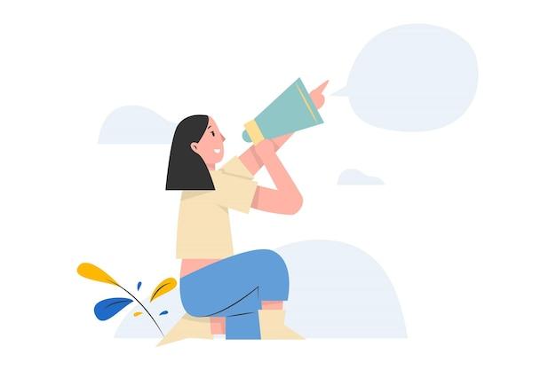 Giovane donna che grida qualcosa con un megafono