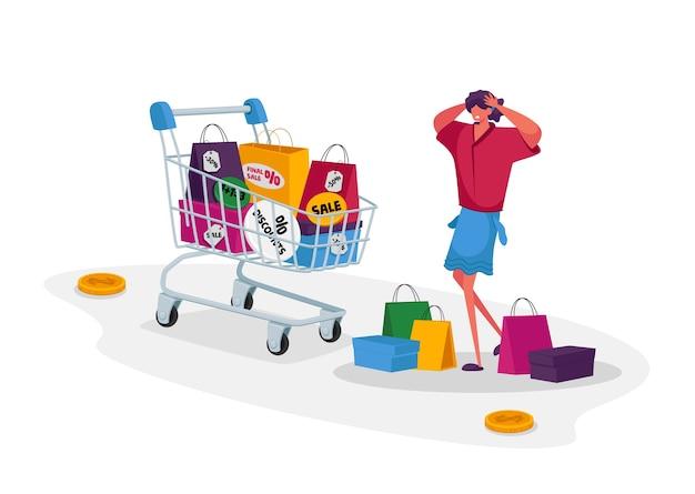 Giovane donna shopaholic con molte borse della spesa