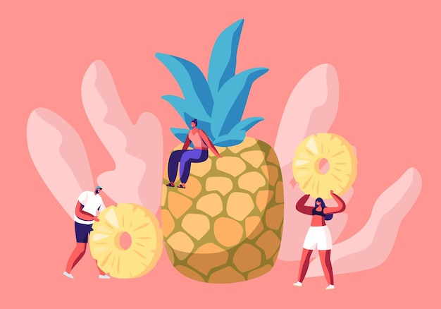 Giovane donna seduta su un enorme ananas e minuscole persone che tengono le fette nelle mani