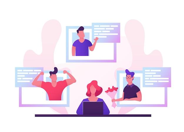 Giovane donna seduta al computer portatile alla ricerca di partner di amore sul sito web di appuntamenti