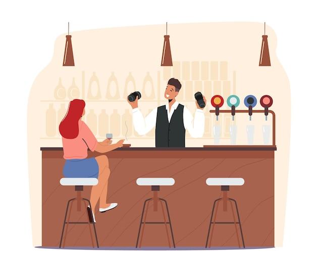 La giovane donna che si siede nel pub beve l'alcool e fuma la sigaretta. cocktail di agitazione del barista. vita notturna tempo libero, tempo libero