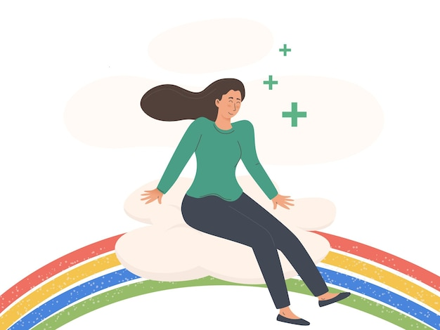 Giovane donna seduta su un arcobaleno corpo positivo e concetto di assistenza sanitaria