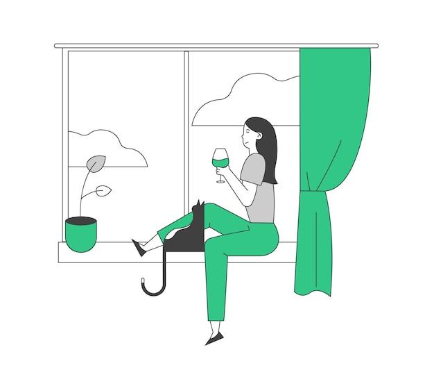Giovane donna seduta sul davanzale