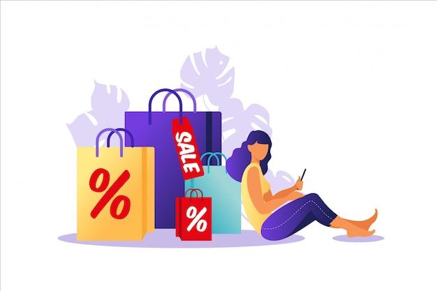 Giovane donna che si siede con i sacchi di carta. concetto di shopping online e offline, vendita, sconto. illustrazione per banner web, infografica, mobile. illustrazione in stile piatto.