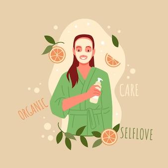 Routine di cura della pelle della giovane donna. trattamento cosmetico biologico per l'illustrazione vettoriale di routine diurna personaggio dei cartoni animati donna felice in un asciugamano dopo la doccia che tiene il contenitore del tubo.