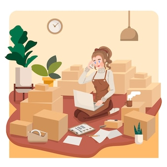 Proprietario di piccola impresa della giovane donna che parla con il cliente che vende in linea nell'illustrazione domestica di concetto