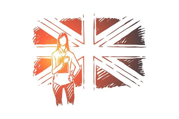 Giovane donna in piedi dalla gran bretagna bandiera illustrazione
