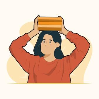 Giovane donna studente tenere pila pila di libri di testo sul suo concetto di testa